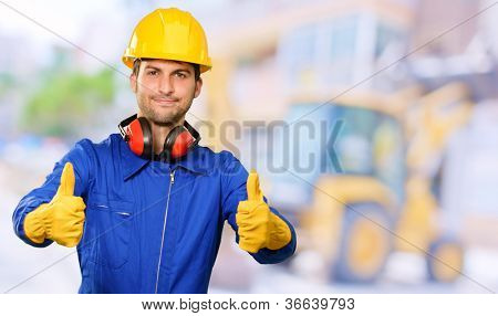 Engineer With Thumps Up, Outdoor