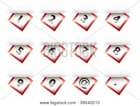 Coleção de guias de números em papel com efeito de sombra
