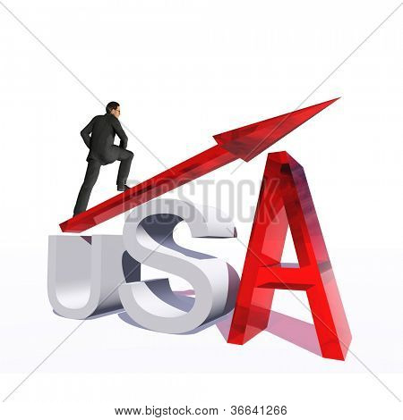 Concept or conceptual 3D red glass dollar symbol with arrow pointing up isolated on white background with businessman as metaphor for business,finance,money,USA,growth,success,stock,America or economy