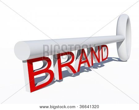 High resolution concept or conceptual red and white 3D key isolated on white background as metaphor for business,brand,trend,media,focus,market,value,product,advertising or customer.Also for corporate