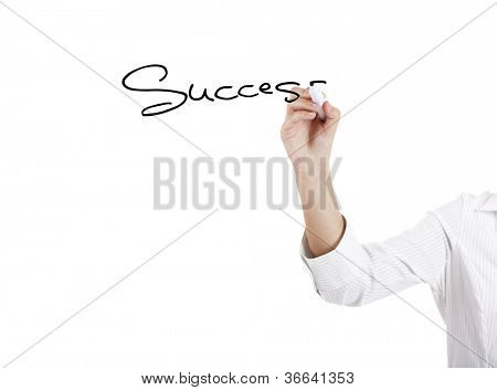 Young businesswoman woman drawing the word sucess