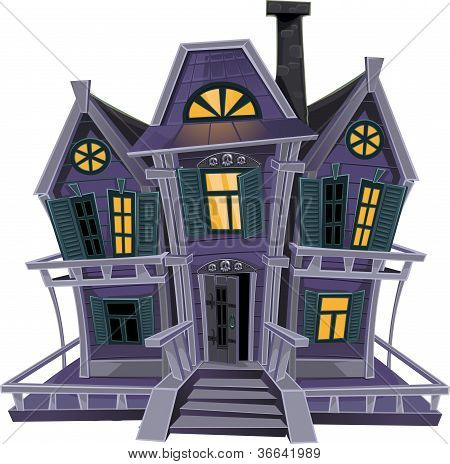 Halloween Witch Magic House Isolated on White