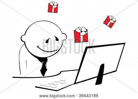 man thinking about presents, isolated on white