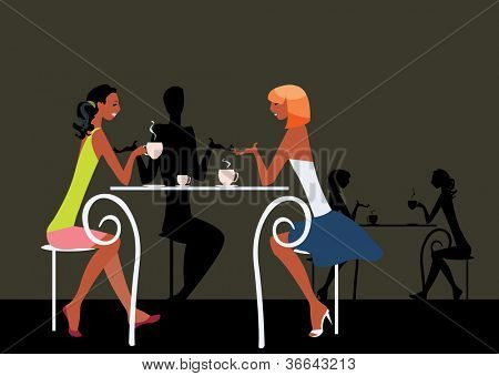 image of girls sitting in cafe