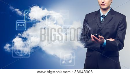 Businessman With Touch Screen Phone
