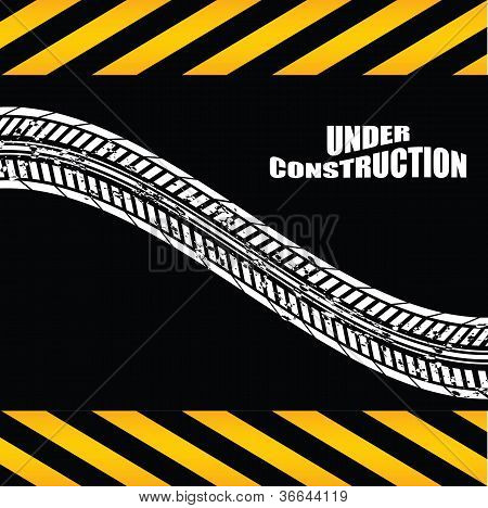 Under Construction Background With Tire Design
