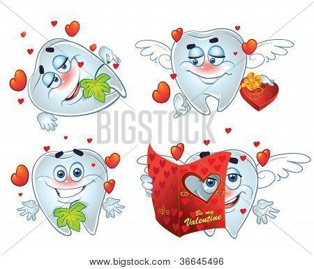 Dentes no dia do romântico Valentin