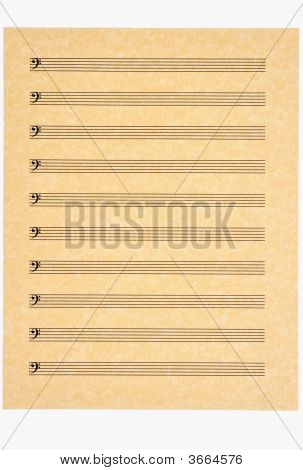 Bass Clef Staves On Blank Music Sheet