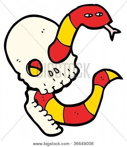 cartoon hissing snake in skull