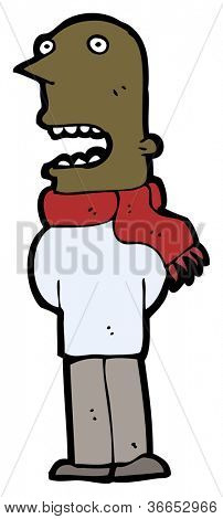 cartoon man wearing scarf