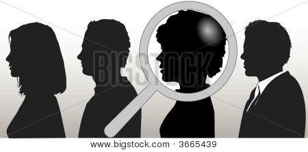 Lupe wählt Silhouette Person in Menschen Zeile