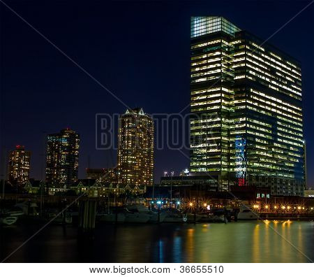 Night in financial district of a big city