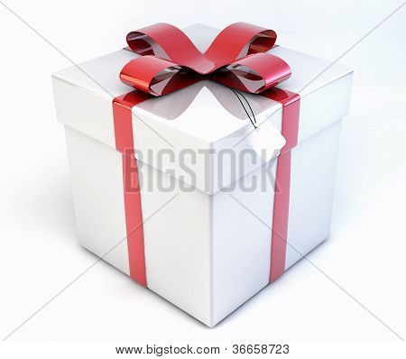 3D Shiny Decorative Gift, Present Box - Package Isolated On White Background