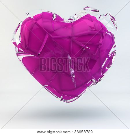 3D Illustration Of A Broken Pink Heart Covered With Glass.