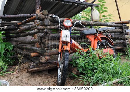 Countryside Wooden Pigpen  Old motorcycle
