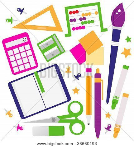 School Accessories Set Isolated On White