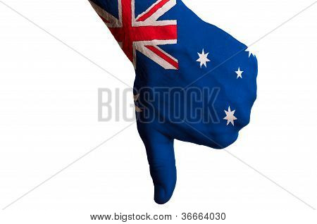 Australia National Flag Thumb Down Gesture For Failure Made With Hand