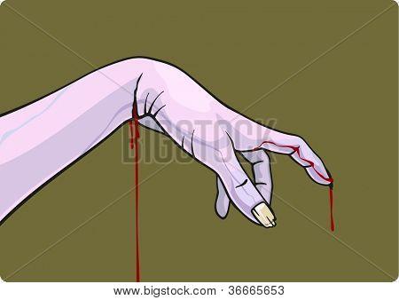 Bleeding zombie hand