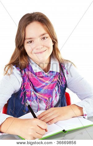 Girl Writing Homework Isolated Over White