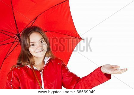 Girl In Raincoat Holding Umbrella Over White Background