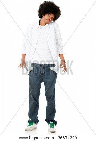 Broke man with empty pockets - isolated over a white background