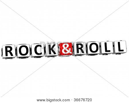 3D Rock And Roll Button Click Here Block Text