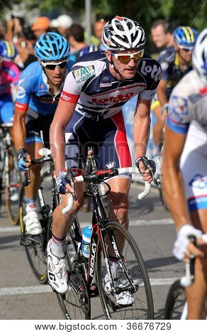 BARCELONA - AUG 26: Lotto-Belisol Australian cyclist Adam Hansen rides with the pack during the Vuelta Ciclista a Espana cycling race in Barcelona on August 26, 2012