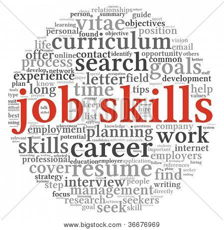 Job skills concept in word tag cloud on white background