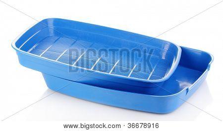 Blue plastic litter cat isolated on white