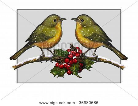 Christmas Theme: Two Birds With Holly, Illustration
