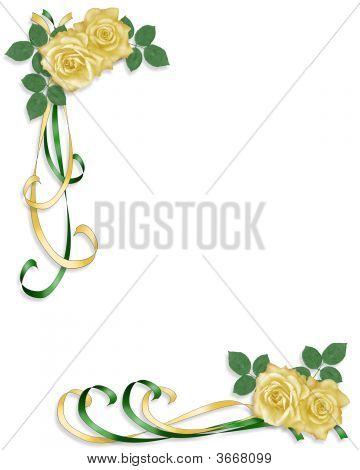 Yellow Roses And Ribbons Corner Design