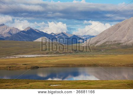 river in tundra on Alaska