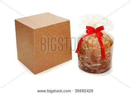 Panettone and package on white background