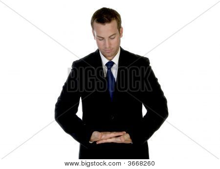 Businessman Making Pose With Palms