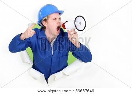 Construction worker with a megaphone
