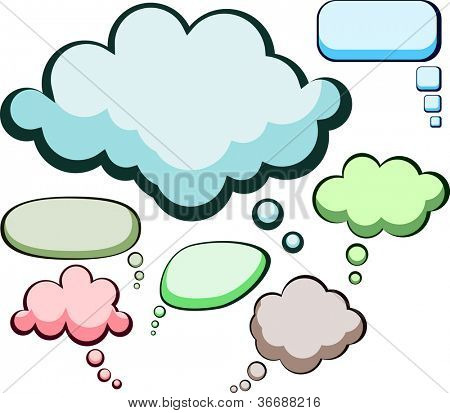 Set of comic style speech color bubbles. Vector illustration.