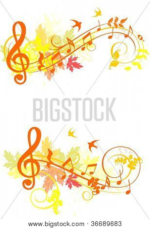 Autumn set of music design elements