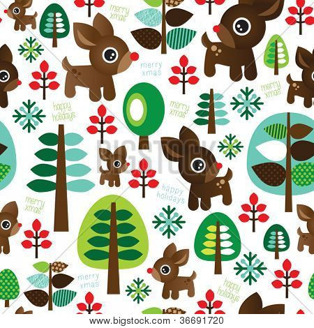 Seamless retro christmas decoration reindeer tree background pattern in vector