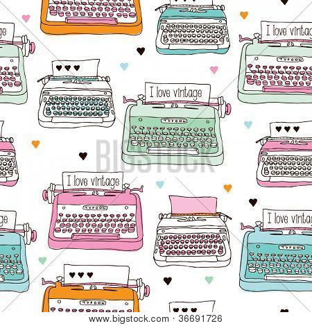 Seamless vintage typewriter illustration background pattern in vector