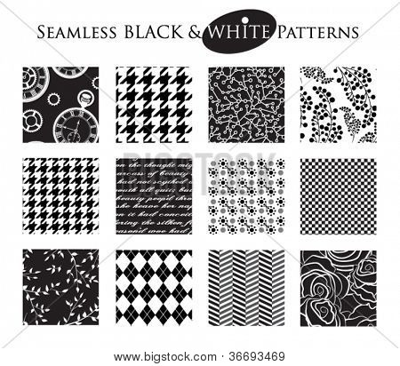 Black and White Seamless Patterns - Set of 12 seamless black and white patterns, including classic checkered, argyle, floral and foliage patterns