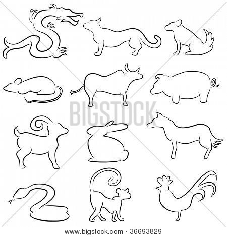 An image of the Chinese astrology animals - line drawing style.