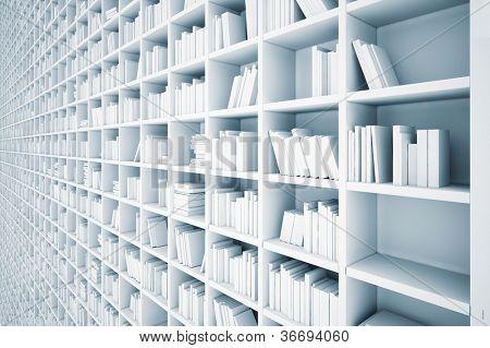 endless white shelves (illustrated concept)
