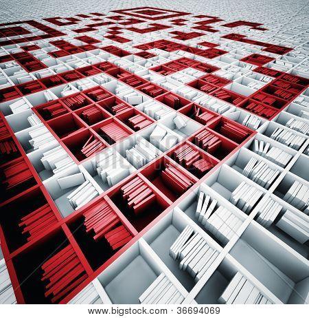 QR code in matrix of bookshelves (illustrated concept)