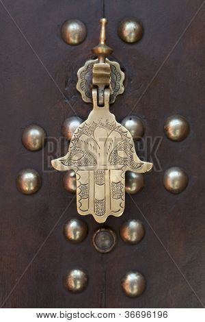 Marakech, Morocco, April 1, 2012, Metal doorknocker Hand of Faitimah
