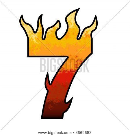 Flames Alphabet Number - 7 Seven