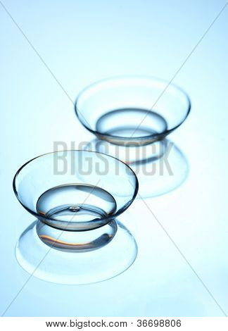 contact lenses, on blue background