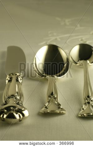 Silver Setting - Spoons And Knife