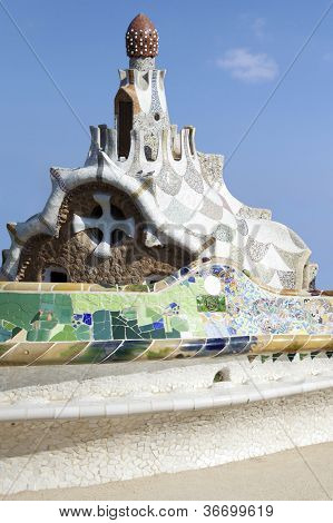 Colorful architecture by Antonio Gaudi . Parc Guell in Barcelona.