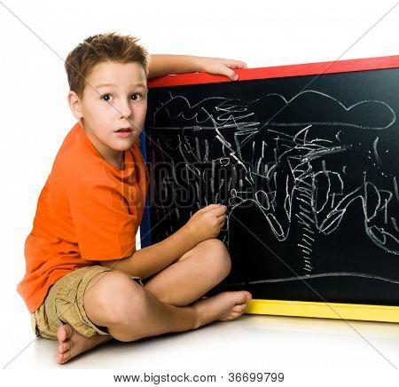 schoolboy with a board. white background