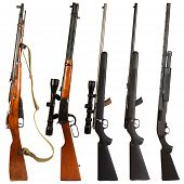 stock photo of shotguns  - Rifles isolated on white background depicting a Russian bolt action Mosin Nagant 30 - JPG